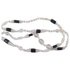 Art Deco Clear Satin Glass and French Jet Necklace