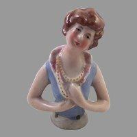 REDUCED Vintage German Porcelain Half Doll Arms Away
