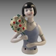Art Deco German Porcelain Flapper Girl Half Doll