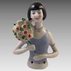 Art Deco German Porcelain Flapper Girl Half Doll