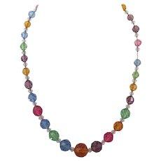 Vintage German Colored Crystal Sterling Necklace
