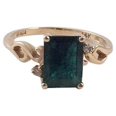 REDUCED Vintage Emerald Diamond 14K Gold Ring