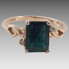 Vintage Emerald Diamond 14K Gold Ring
