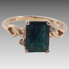 Vintage Emerald Diamond 14K Gold Ring