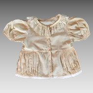 Victorian Child's / Doll Silk Blouse With Lace Collar