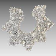 Antique Ecru Crocheted Irish Lace Collar