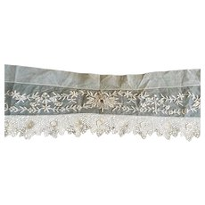 Antique Embroidered and Crocheted Lace Valance