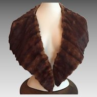 Vintage 1920's Dark Brown Mink Fur Collar For Coat