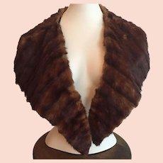 Vintage 1920's Dark Brown Mink Fur Collar For Coat