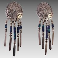 Native American Silver and Azurite Clip Earrings