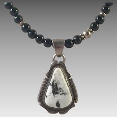 Native American White Buffalo Turquoise Necklace By B. Johnson