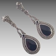 Vintage Sterling Marcasite Black Onyx Dangle Earrings