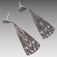 Art Deco Sterling Marcasite Dangle Earrings
