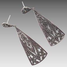 Art Deco Sterling Marcasite Dangle Earrings