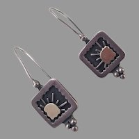 REDUCED Sterling and 14K Gold Earrings Artist Made Sun Motif