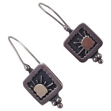 Sterling and 14K Gold Earrings Artist Made Sun Motif