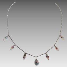 Art Deco Czech Necklace Iris Glass On Crinkle Chain