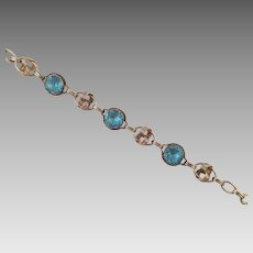 Gold-Filled Bracelet With Aqua Faceted Glass Stones
