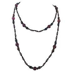 Vintage Long Beaded Necklace Black and Purple