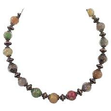 Vintage Italian Murano Aventurine Beaded Necklace