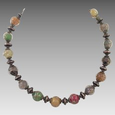 Vintage Italian Murano Aventurine Glass Beaded Necklace
