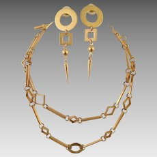 Artist Made Gold Tone Geometric Necklace and Earrings