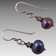 Dark Gray Pearl and Amethyst Drop Earrings