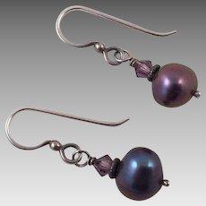 Dark Gray Pearl and Amethyst Drop Earrings