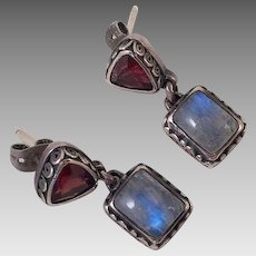 Sterling Garnet & Rainbow Moonstone Earrings