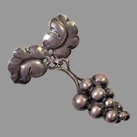 REDUCED Georg Jensen Sterling Moonlight Grapes Pin #217A