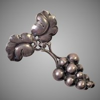Georg Jensen Sterling Moonlight Grapes Pin #217A