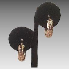 14K Yellow Gold Pierced Hoop Earrings