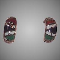 Carnelian, Black Onyx, Chrysoprase Gold Vermeil Pierced Earrings