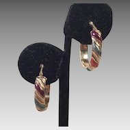 Italian 14K Gold and Enamel Hoop Pierced Earrings