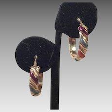 Italian 14K Gold and Enamel Hoop Pierced Earrings
