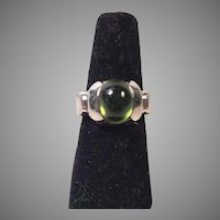 Bold Sterling Green Tourmaline Cabochon Ring Size 7 Artist Made