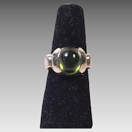 Bold Sterling Green Cabochon Tourmaline Ring Size 7 Artist Made