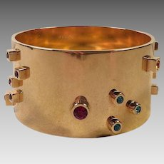 Vintage Signed Mod Gold Plated Bangle Bracelet With Colored Rhinestones