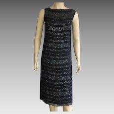 1960's Black Silk Chiffon Glittery Evening Shift Dress