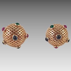 14K Gold Ruby Emerald Sapphire Pierced Earrings