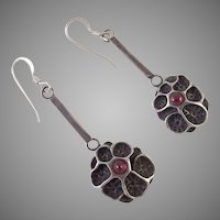 Arts & Crafts Sterling and Garnet Pierced Earrings