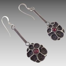 Arts & Crafts Sterling and Garnet Pierced Earrings