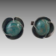 Vintage Sterling and Turquoise Glass Cuff Links