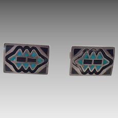Vintage Native American Sterling Onyx Turquoise Cuff Links