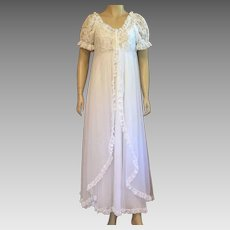 1960's Tosca Of California White Nylon Bridal Peignoir Set Size S