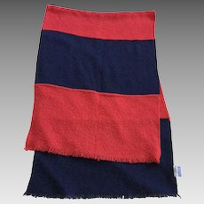 Vintage Irish Hand Woven Red and Blue Shawl