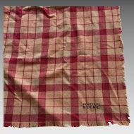 Vintage Geoffrey Beene Large Red & Beige Plaid Wool Scarf / Wrap