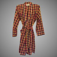 Vintage 1960's Men's Weldon Plaid Bath Robe