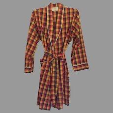 REDUCED Vintage 1960's Men's Weldon Plaid Bath Robe