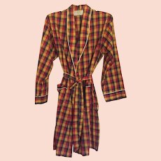 Vintage 1960's Men's Weldon Plaid Bath Robe